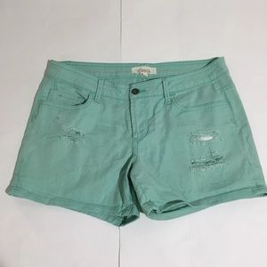 2.1 Denim Pants - 2.1 Denim Mint Green Distressed Shorts Sz 8/29
