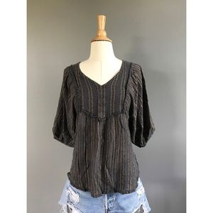 Vintage Tops - 1970's Vintage metallic Indian gauze top