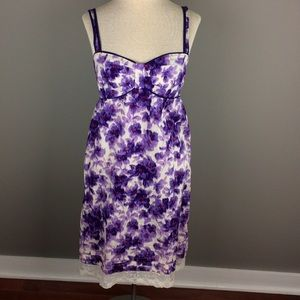 Anthropologie Eloise purple and white dress
