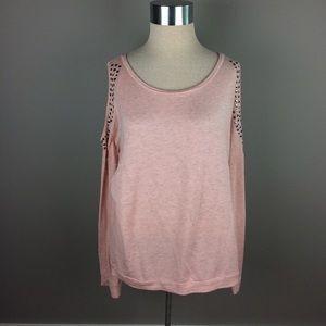 Venus pink studded cold shoulder sweater top
