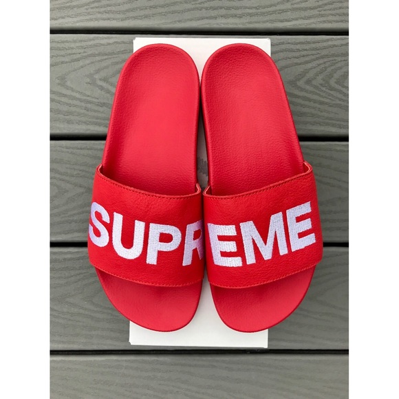 Adidas Custom Slides With Writing Supreme