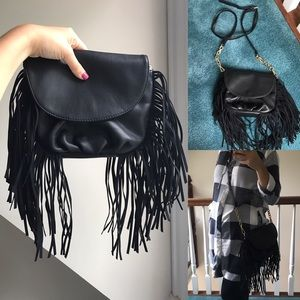 Deux Lux Handbags - Black Vegan Leather Fringe Crossbody Messenger Bag