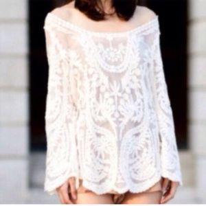 🎀NEW🎀  White Sheer Lace Crochet Loose Top