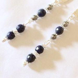 Jewelry - Lapis lazuli pyrite Sterling dangle earrings