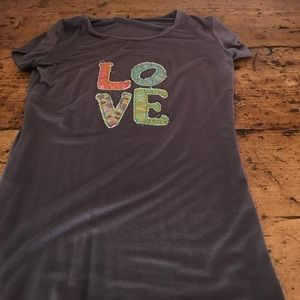 Tops - Grey short sleeve t-shirt with love on the front.
