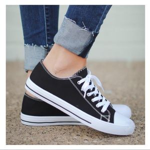 Shoes - Black canvas sneakers