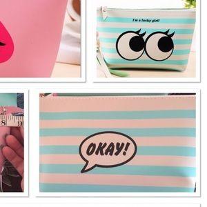 Handbags - LAST ONE‼️Green striped makeup bag