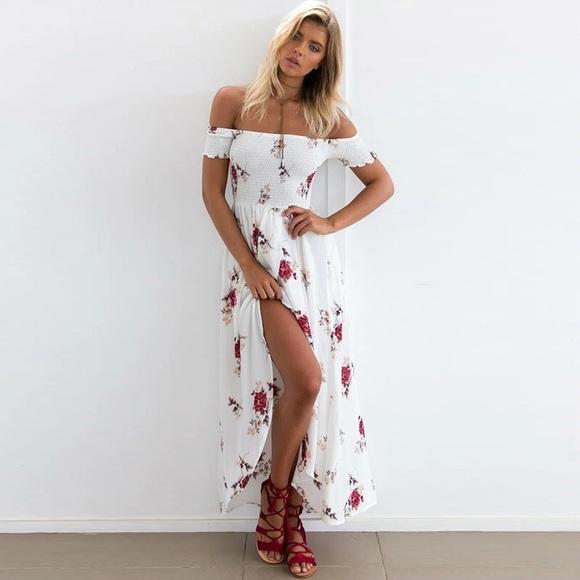 Fairlygirly Dresses Rose Floral Off Shoulder Smocked