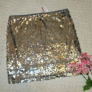 Poof Couture Dresses & Skirts - Silver Sequin Stretch Skirt