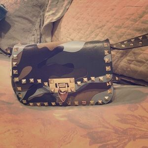 Valentino Handbags - Auth VALENTINO Leather-Canvas Camo Rockstud Bag