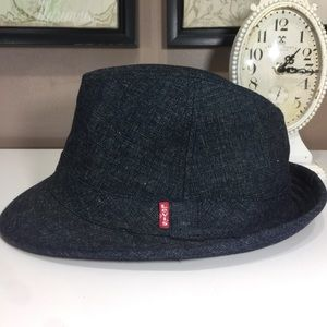 e6acd7889794b levis Accessories - Levi s Red Tab Denim Fedora Hat Blue Unisex