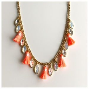 J. Crew Orange Tassel Necklace