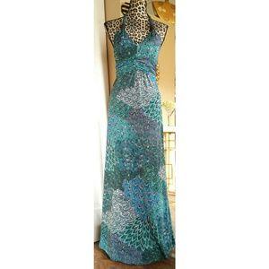 Christina Love Dresses & Skirts - Long Aqua Teal Purple Peacock Maxi Dress Sz Small