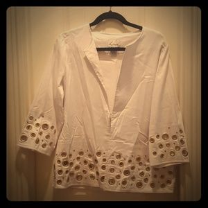 LINEA White Jacket with Gold Accents