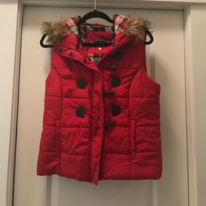 Jackets & Blazers - Red Puffer Vest with Fur Hood