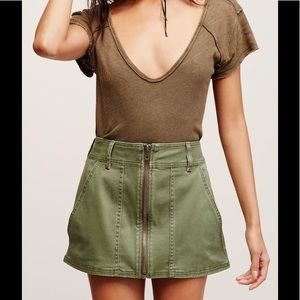 Free People Dresses & Skirts - NWT FREE PEOPLE Mini Skirt FRONT ZIP Army Green 6