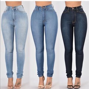 Denim - Blue denim high waisted jeans