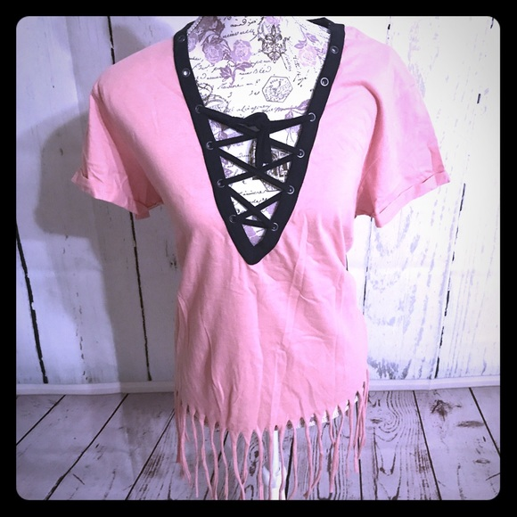 On Fire Tops - Peach Lace up Fringe top [TO-43]