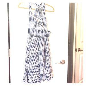 Boden halter dress blue dot print size 10P