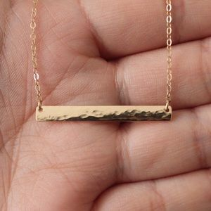 Jewelry - 14K Gold-Filled Textured Bar Necklace - Handmade!