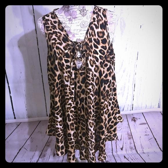 C'est La Vie Dresses & Skirts - Sexy Caged Leopard Tunic/Dress w Lace-up DR-13