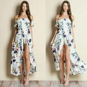 Pants - Off Shoulder Floral Print Maxi Romper