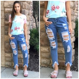 Denim - Distressed Girlfriend Jeans