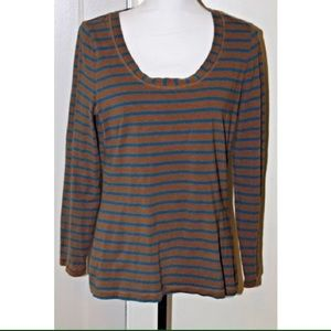 Boden Long Sleeve T-Shirt Brown with Teal Stripes