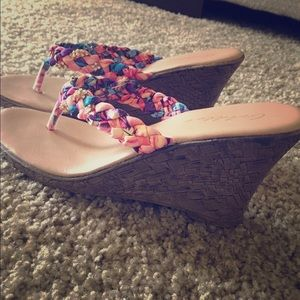 Gold Toe Shoes - Multicolor Wedges