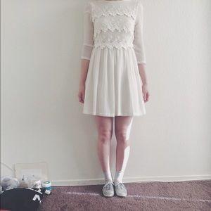 Topshop Dresses & Skirts - Lace cream swing dress