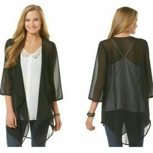 BONGO Tops - Bongo Chic Sheer Black Kimono or Cover Up