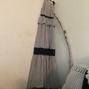 Cosette Grey Silk black lace long maxi dress