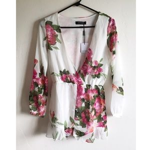 Choies Pants - NWT Watercolor Floral Playsuit