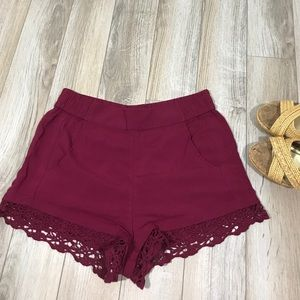 NWT Express Maroon Lace Bottom High Waist Shorts