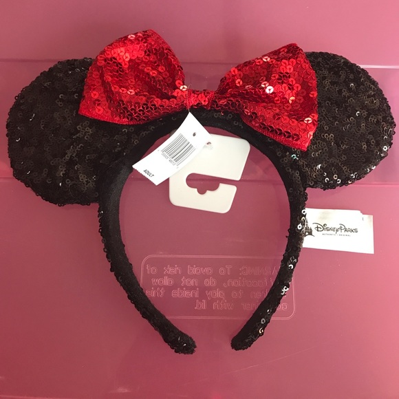 86d3621007e Minnie Mouse black and red sequin headband ears