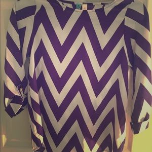 Aina Be Tops - Purple and White Chevron Blouse