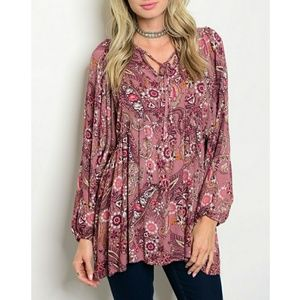 Tops - 4 LEFT 🏵S & M🏵 Mauve with Flower Print Tunic Top