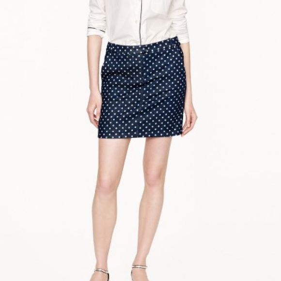 a85f6db0d1 J. Crew Dresses & Skirts - J. Crew Polka Dot Denim Jean Skirt Mini
