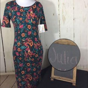 Lularoe Julia Medium Floral Teal