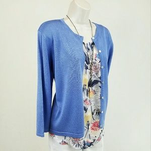 Donna Morgan Sweaters - Donna Morgan blue silk cardigan