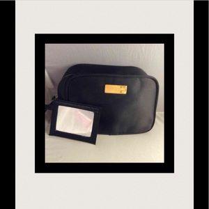 Dolce & Gabbana black satin cosmetic bag mirror