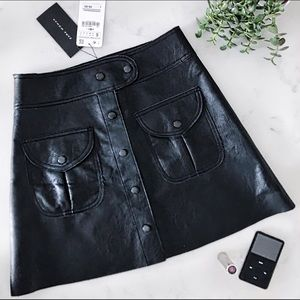 Zara Button Front Leather-Effect Mini Skirt