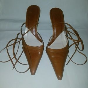 Zara brown leather pointed toe heels (size 39)
