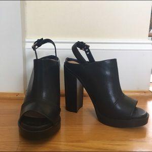 Black Leather ZARA Platform Mules