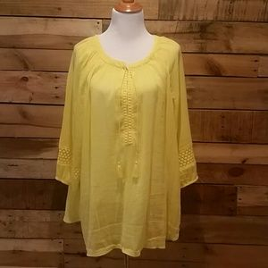 Lane Bryant yellow gauzy tunic w/crochet trim