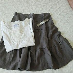 Allen Allen Dresses & Skirts - Allen Allen mushroom tiered linen skirt
