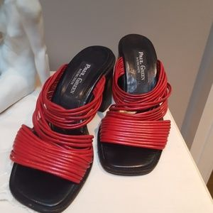 Paul Green Shoes - Sandal Heels Red Leather Handmade