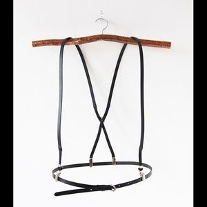 Urban Outfitters Accessories - Black leather suspender + belt