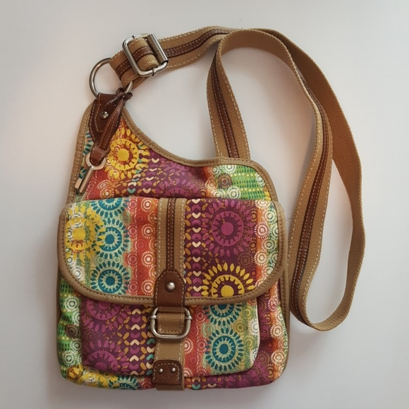 11b2a1c7d9c7 Fossil Handbags - Fossil boho canvas crossbody bag