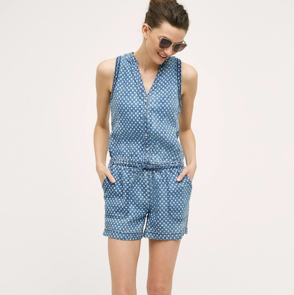 5d9ad4801969 Anthropologie Pants - Hei Hei Dottie Chambray Romper